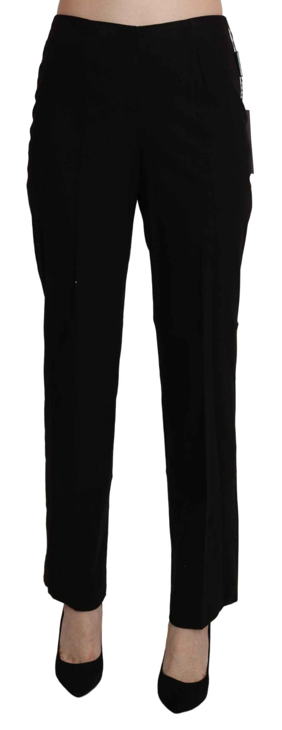BENCIVENGA Women's High Waist Straight Cropped Trousers Black PAN71372-42 - IT48|XXL
