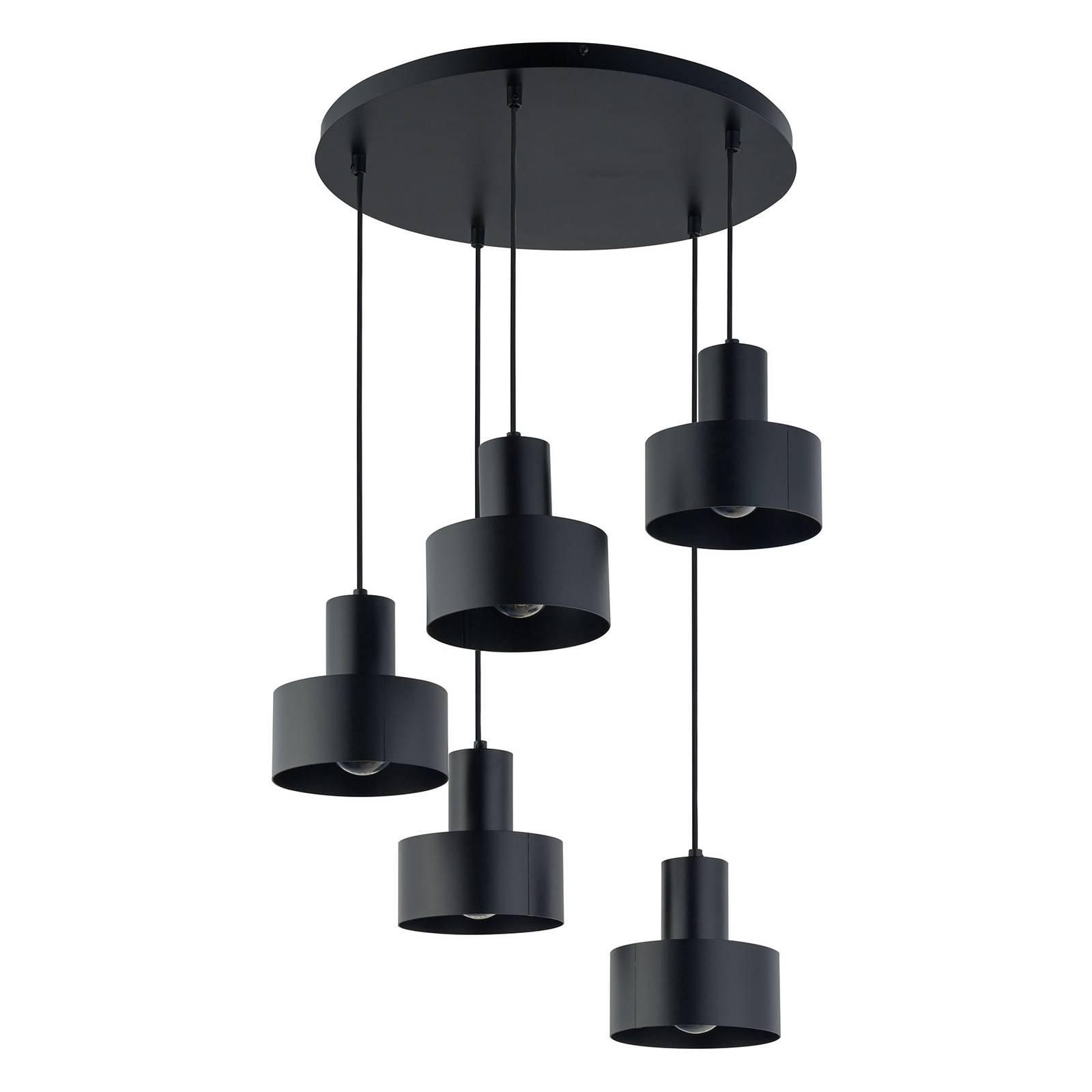 Riippuvalo Rif 5, pyöreä, viisilamppuinen, musta