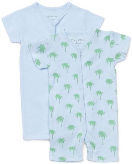 Tiny Treasure Summer Jumpsuit 2-Pack, Blue/Palm 56