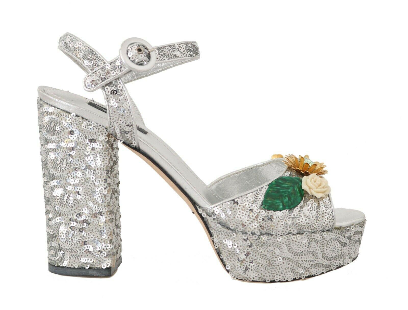Dolce & Gabbana Women's Leather Sequin Crystal Sandals Silver LA5694 - EU36/US5.5