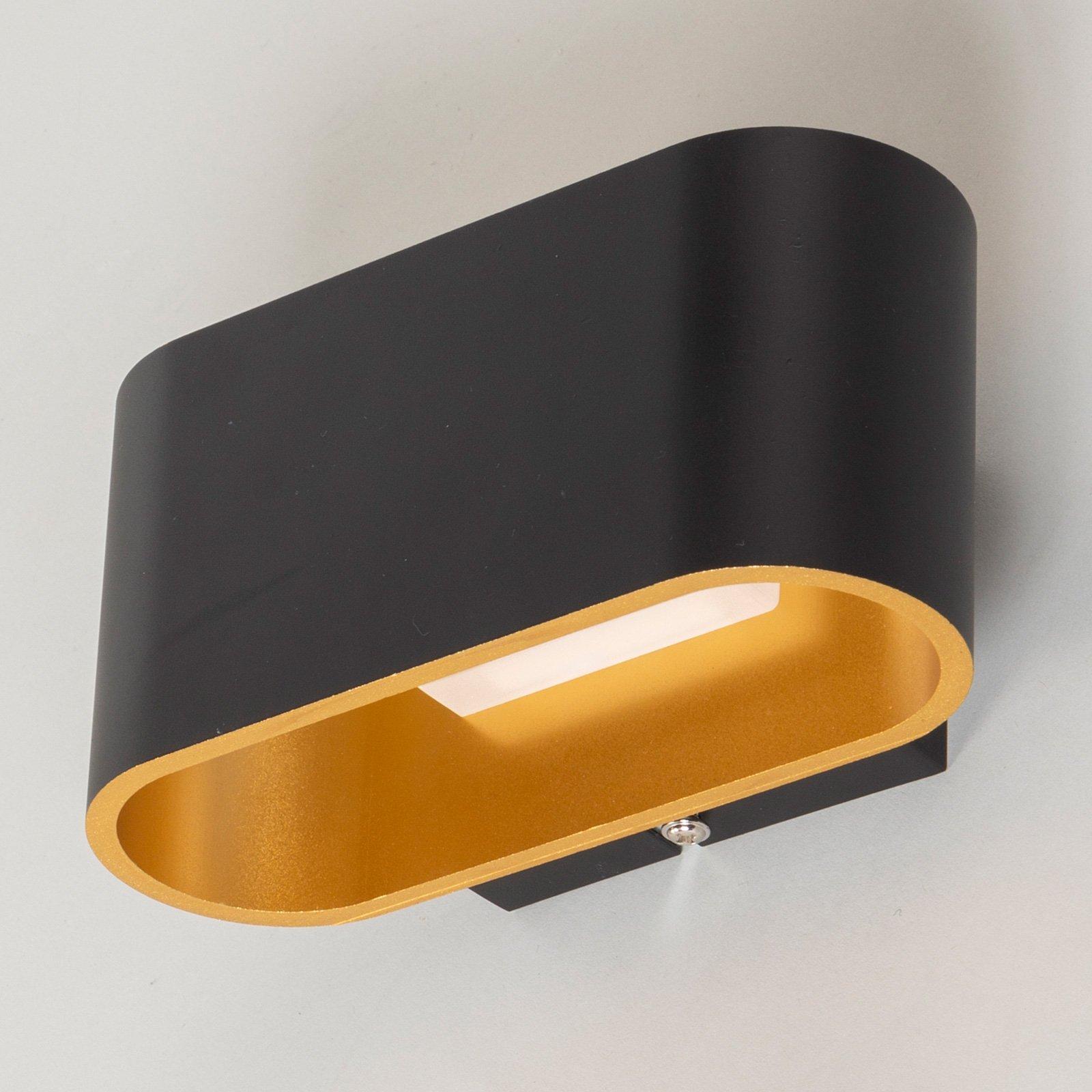 LED-vegglampe Denzel i svart/gull