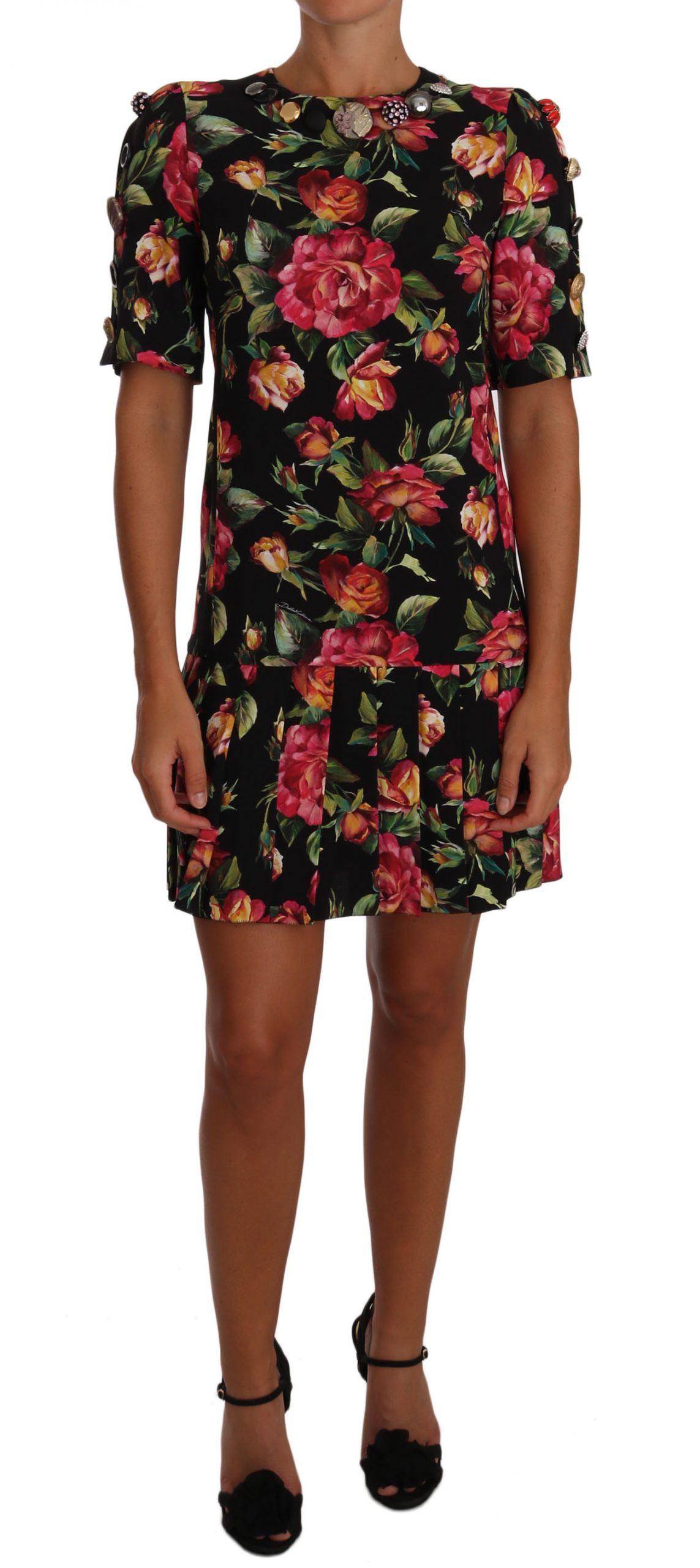 Dolce & Gabbana Women's Floral Crystal Buttons Dress Multicolor DR1444 - IT38 XS