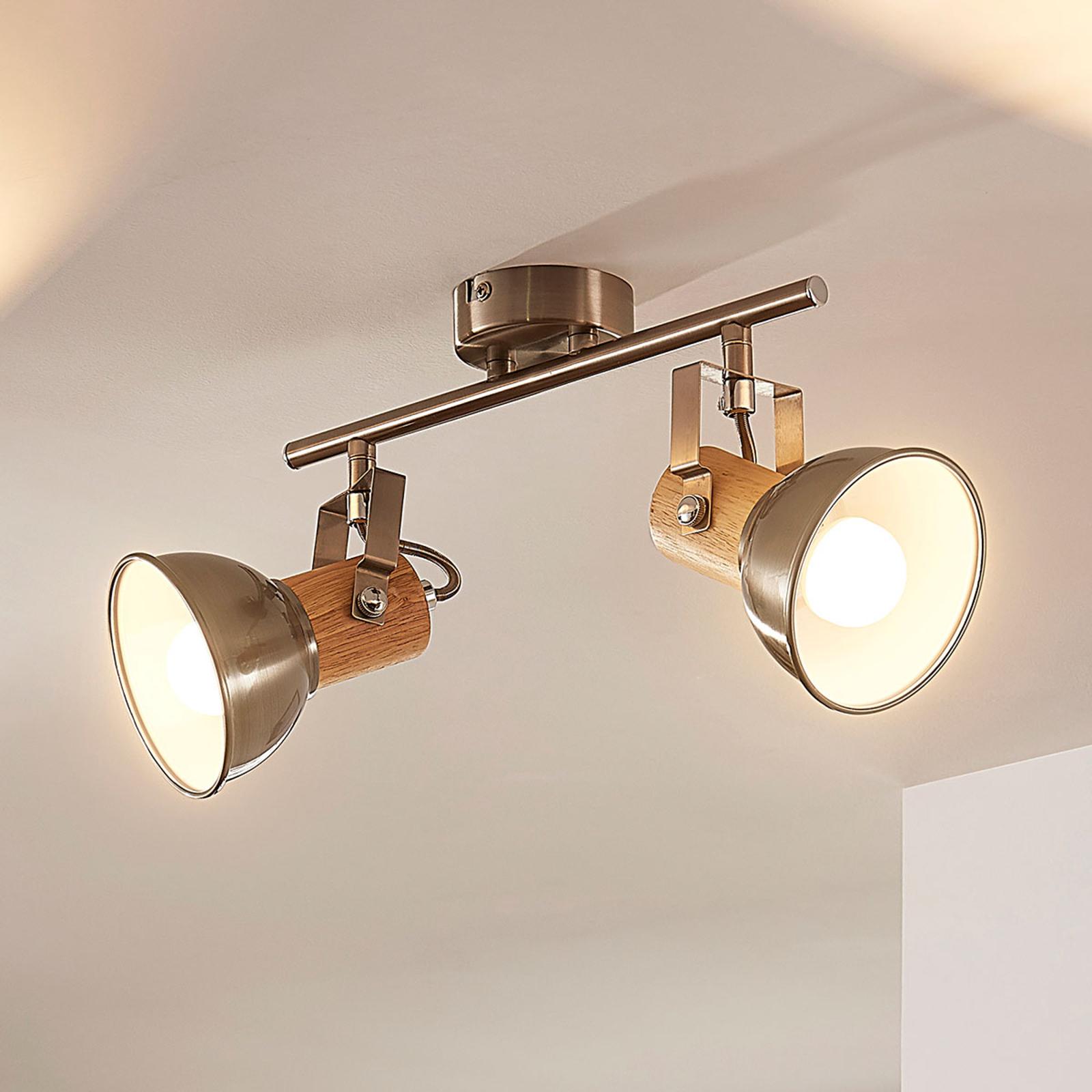 Puukoristeinen LED-kattovalaisin Dennis, 2 lamppua