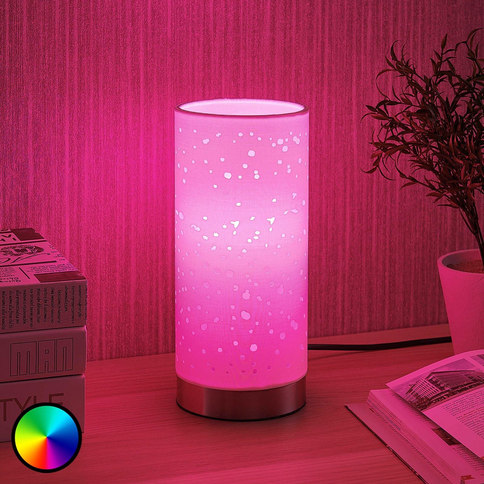 Lindby Smart LED-bordlampen Alwine med prikker