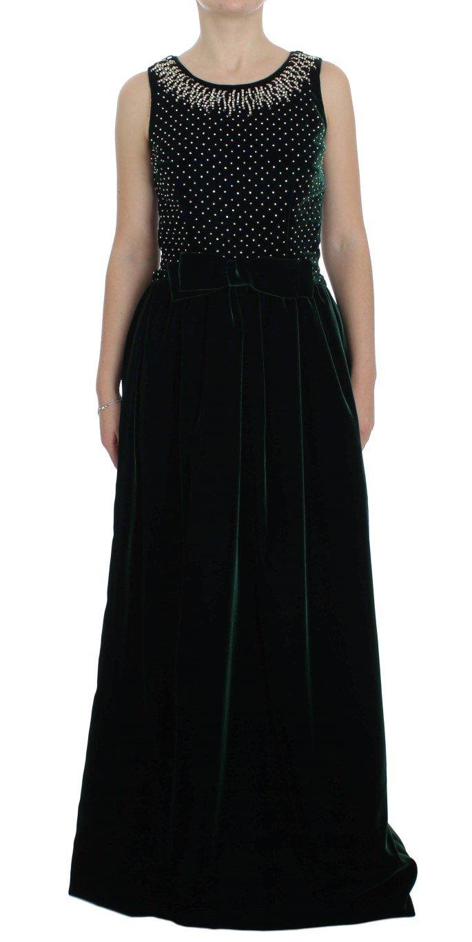 Dolce & Gabbana Women's Crystal Long Dress Blue NOC10094 - IT46 XL