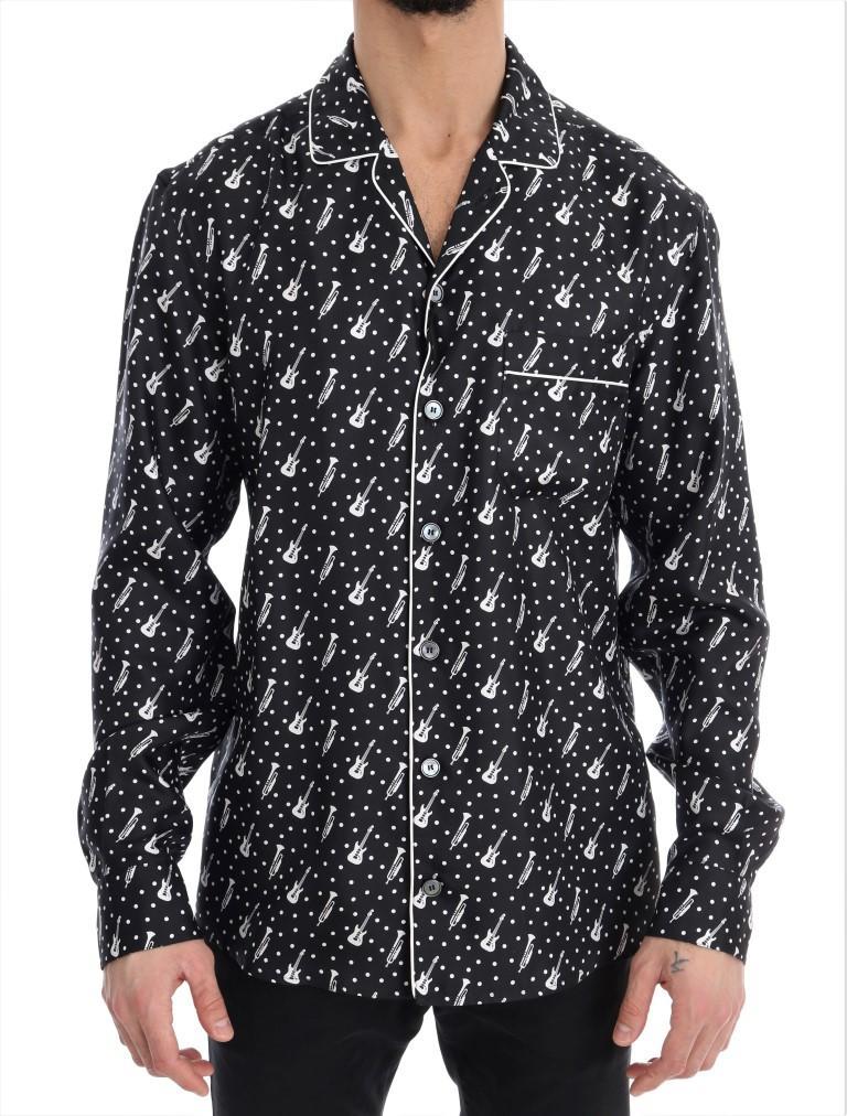 Dolce & Gabbana Men's Silk JAZZ Print Casual Shirt Multicolor TSH1821 - 38