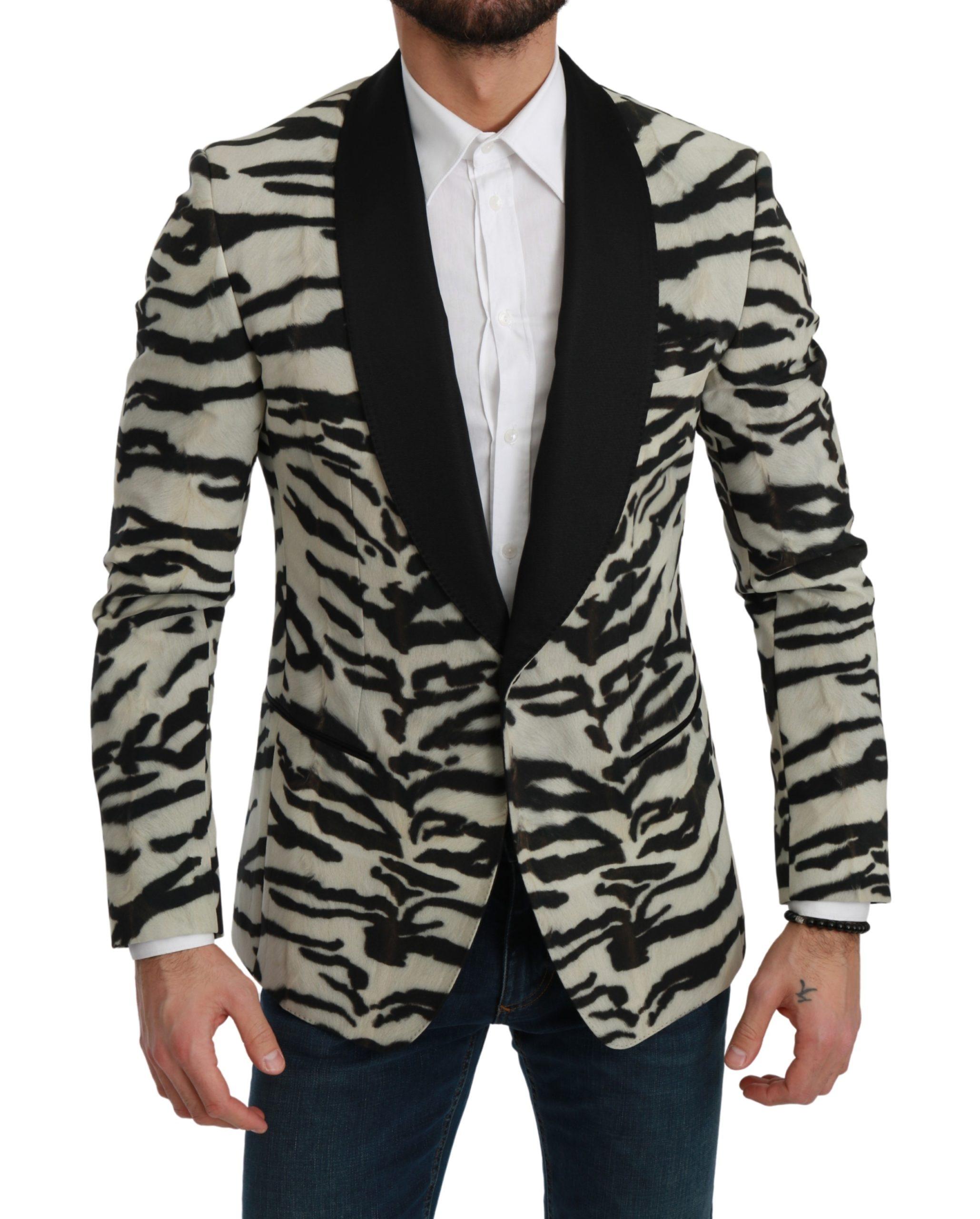 Dolce & Gabbana Men's Zebra Slim Fit Formal Blazer Multicolor KOS1712 - IT46   S