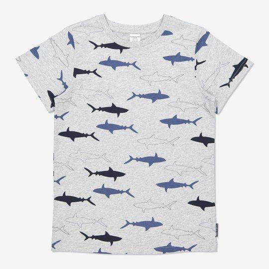 T-skjorte med haitrykk gråmelange