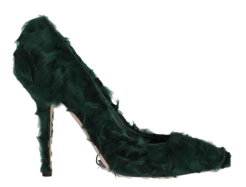 Dolce & Gabbana Women's Xiangao Lamb Fur Leather Pumps Green LA3083 - EU40/US9.5
