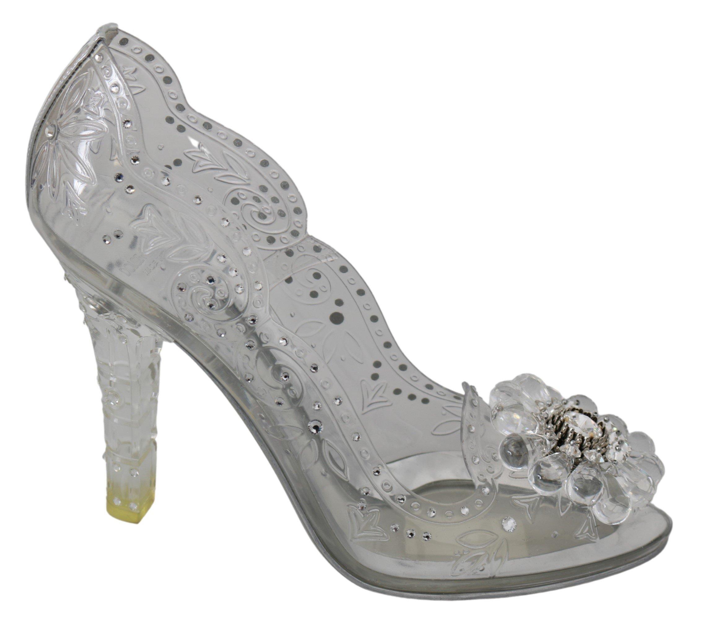 Dolce & Gabbana Women's Crystal CINDERELLA Pumps Transparent LA7282 - EU38/US7.5
