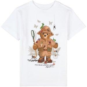 Ralph Lauren Butterfly Bear Print Tee T-shirt Vit 2 år