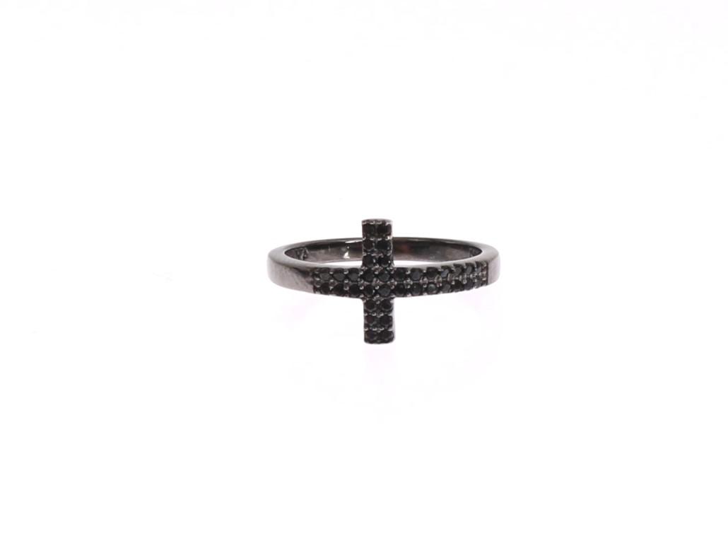 Nialaya Women's Black CZ Cross Rhodium 925 Ring Black NIA20374 - EU56 | US8