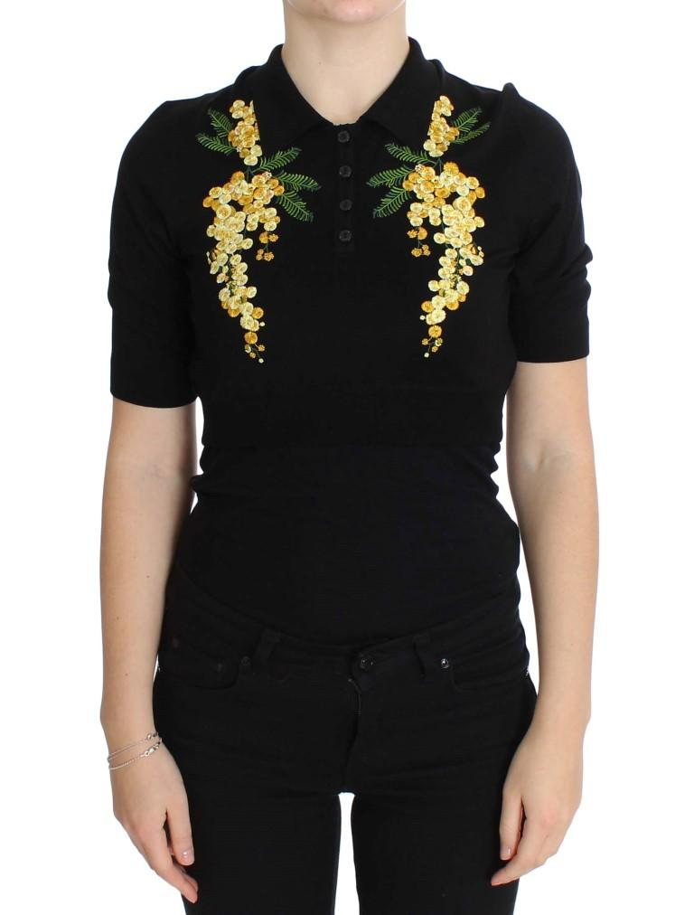 Dolce & Gabbana Women's Silk Floral Embroidered Polo Top Black SIG20571 - IT36 XXS