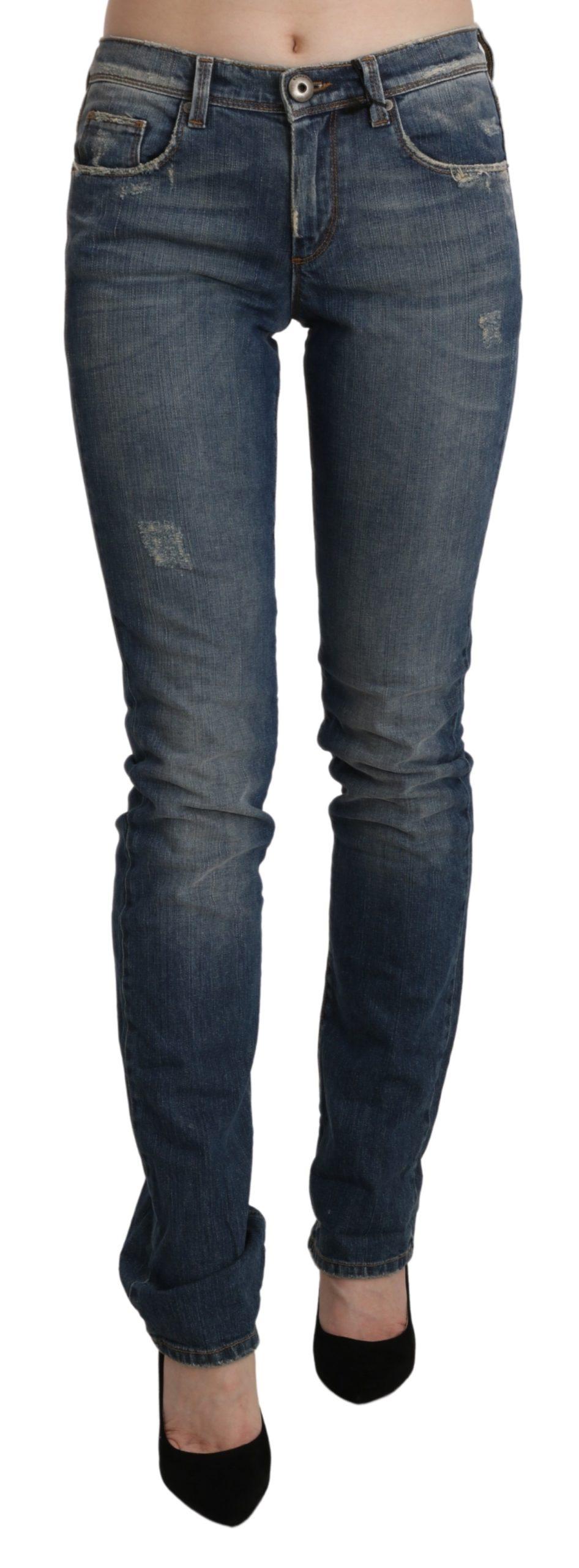 Blue Washed Mid Waist Skinny Denim Jeans - W26
