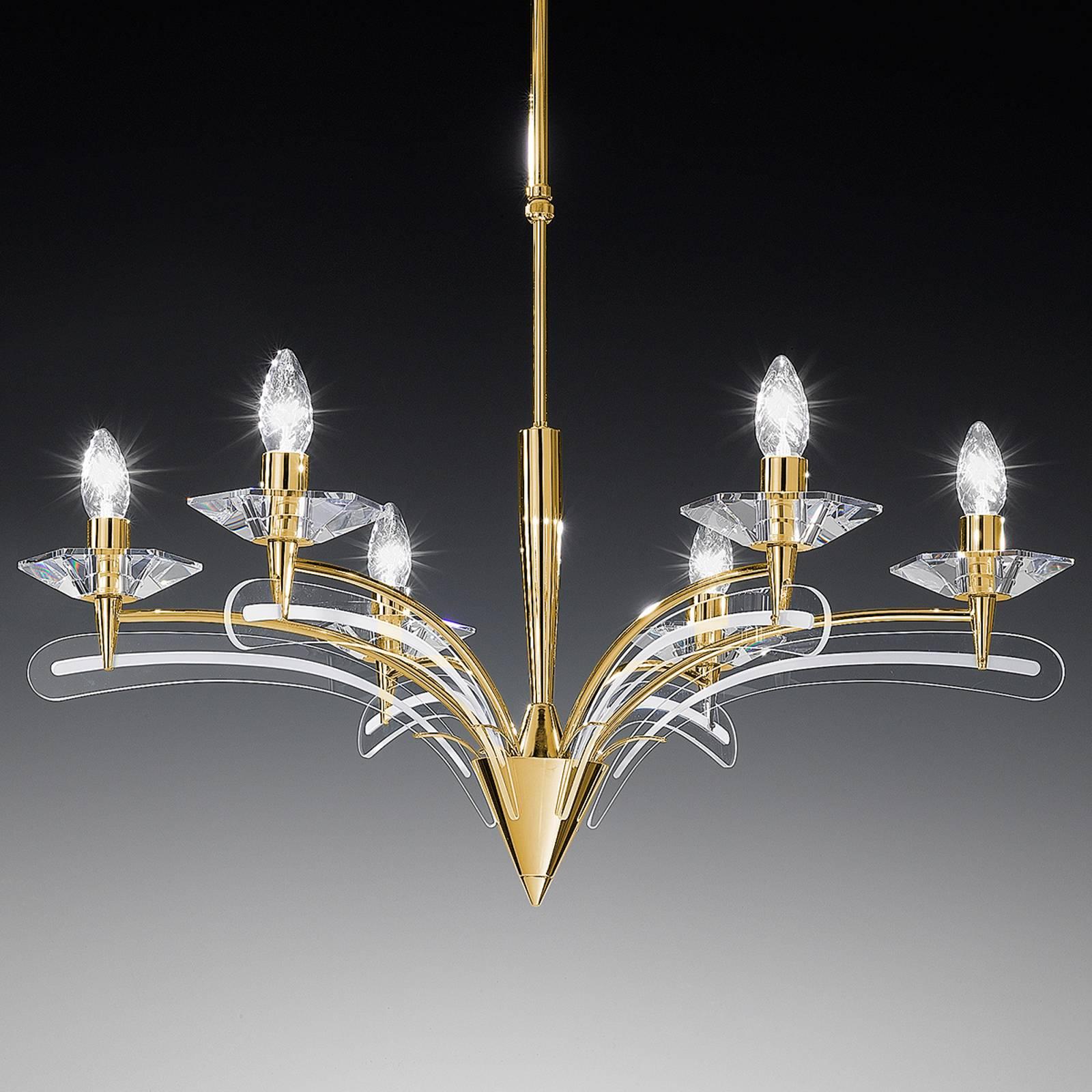 Kattokruunu ICARO 6 lamppua, kristallilasi, kulta