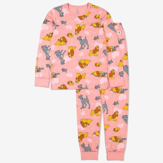 Todelt pyjamas med lady og landstrykeren-trykk rosa