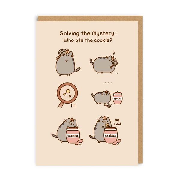 Pusheen Solving The Cookie Mystery: Greeting Card