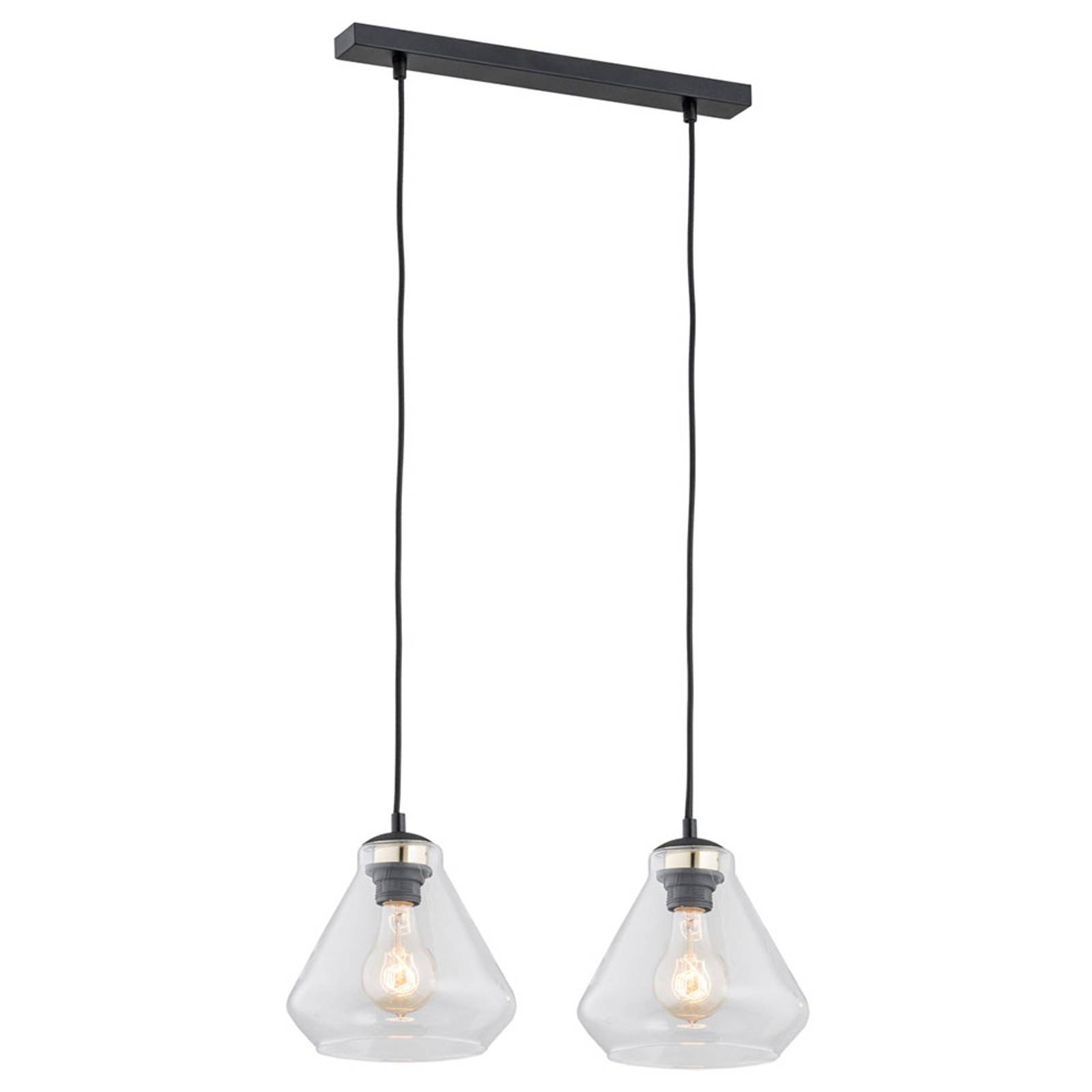 Riippuvalo Destin, 2-lamppuinen, kirkas/musta