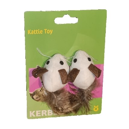 Kattleksaker Mice with Feathers Nature 2 pack