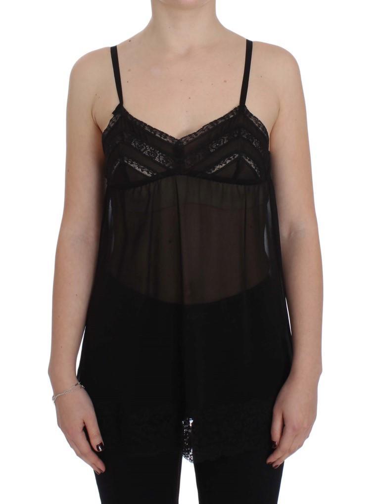 Dolce & Gabbana Women's Silk Floral Lace Lingerie Top Black SIG30719 - IT2 | S