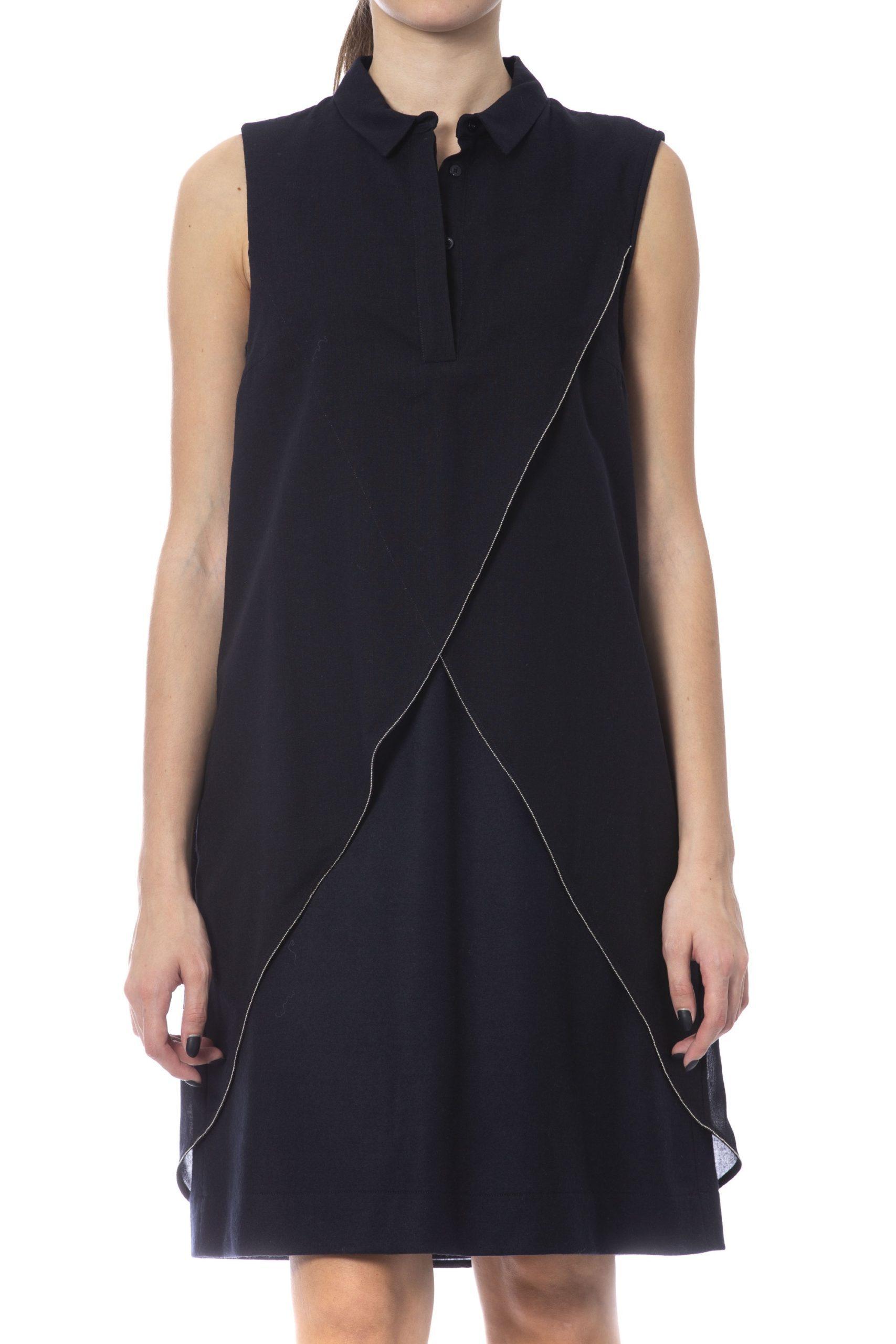 Peserico Women's Dress Black PE993654 - IT42 | S
