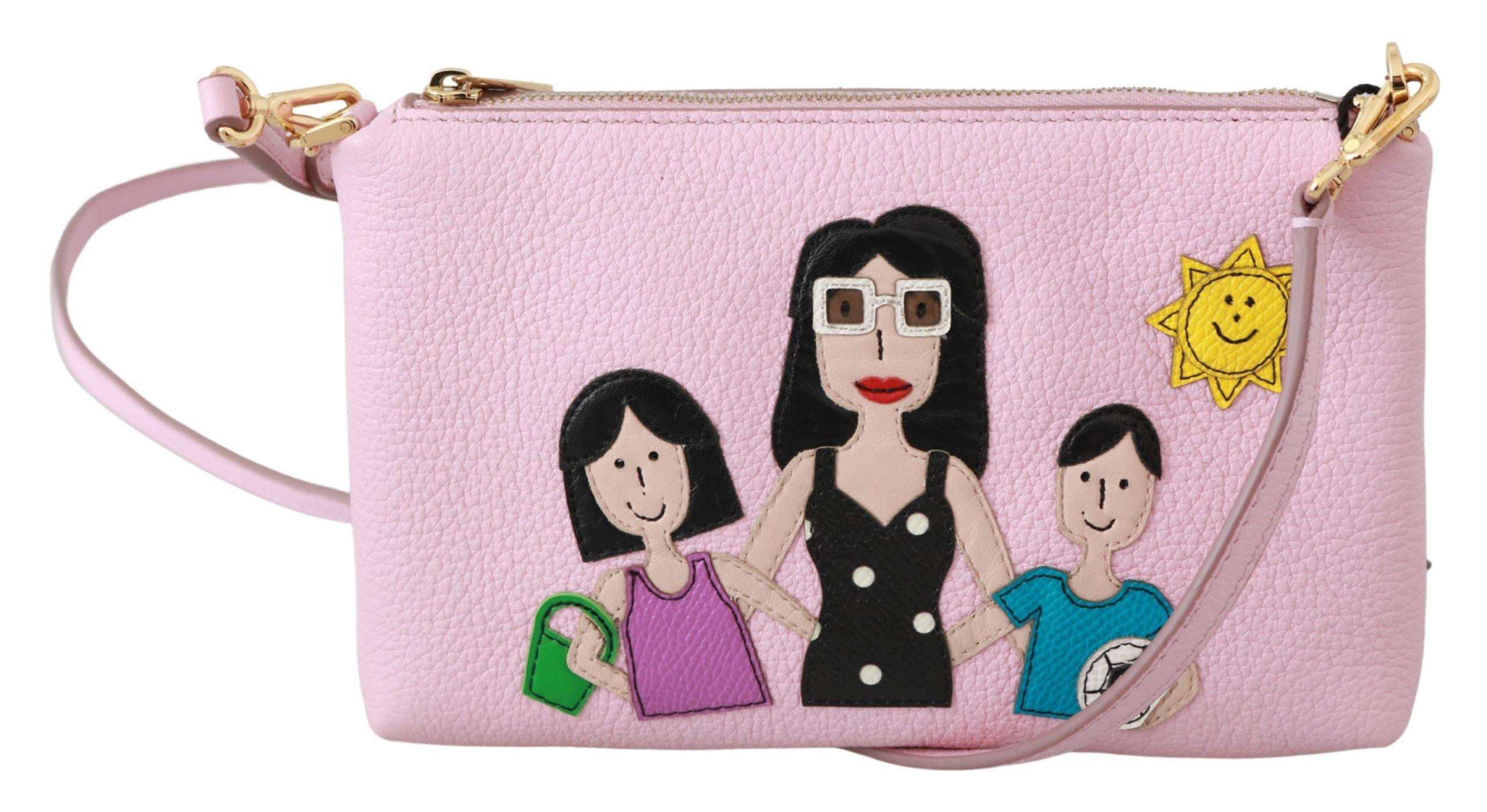 Dolce & Gabbana Women's Leather #dgfamily Clutch Bag Pink VAS9429