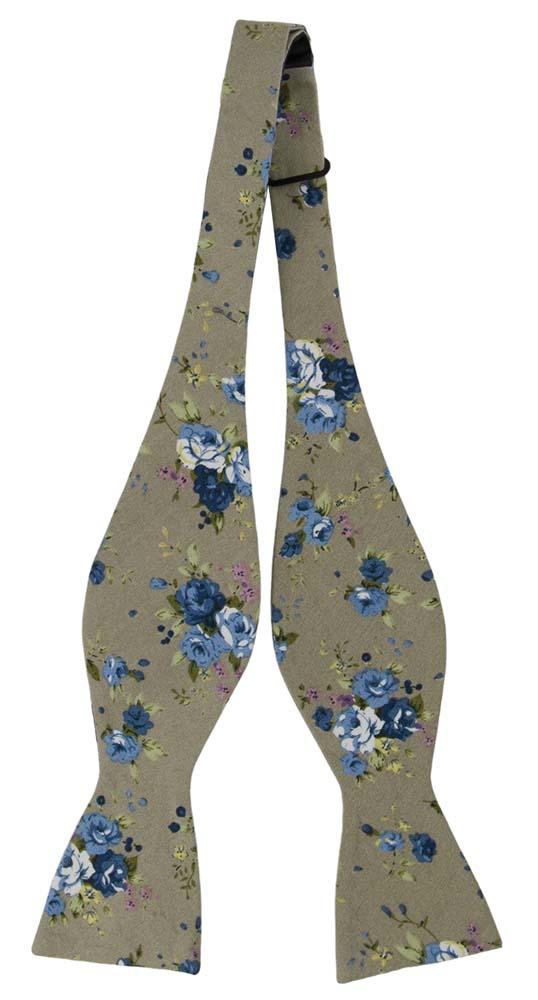 Bomull Sløyfer Uknyttede, Små blå og hvite blomster på beige, Beige, Blomstrete