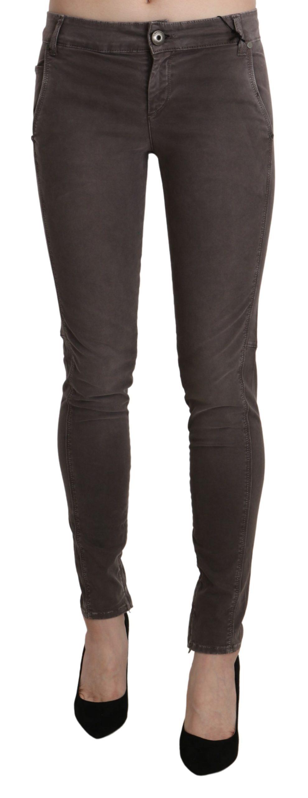 Brown Low Waist Skinny Slim Trouser Cotton Jeans - W26