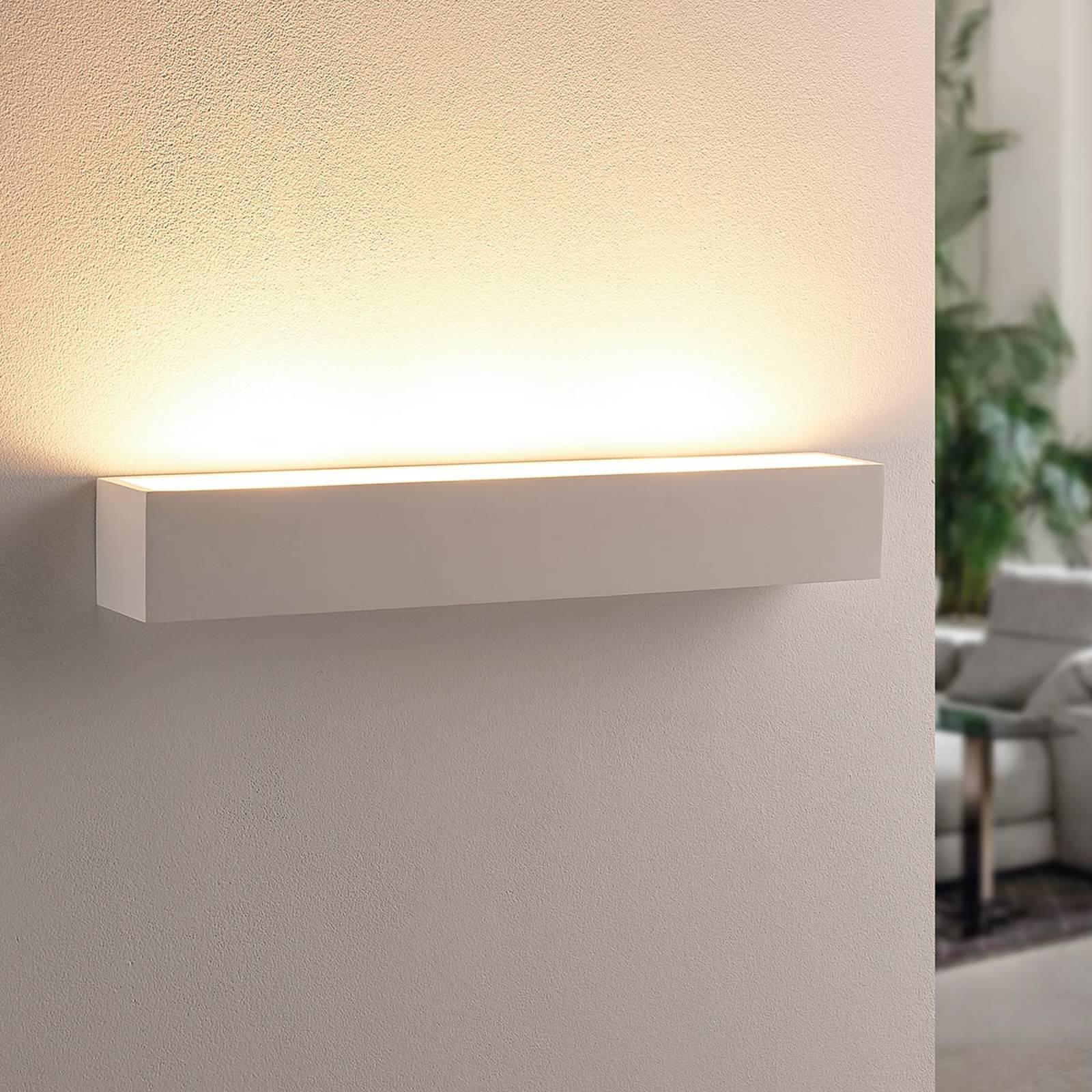 Hvit LED-vegglampe i gips Santino, firkantet