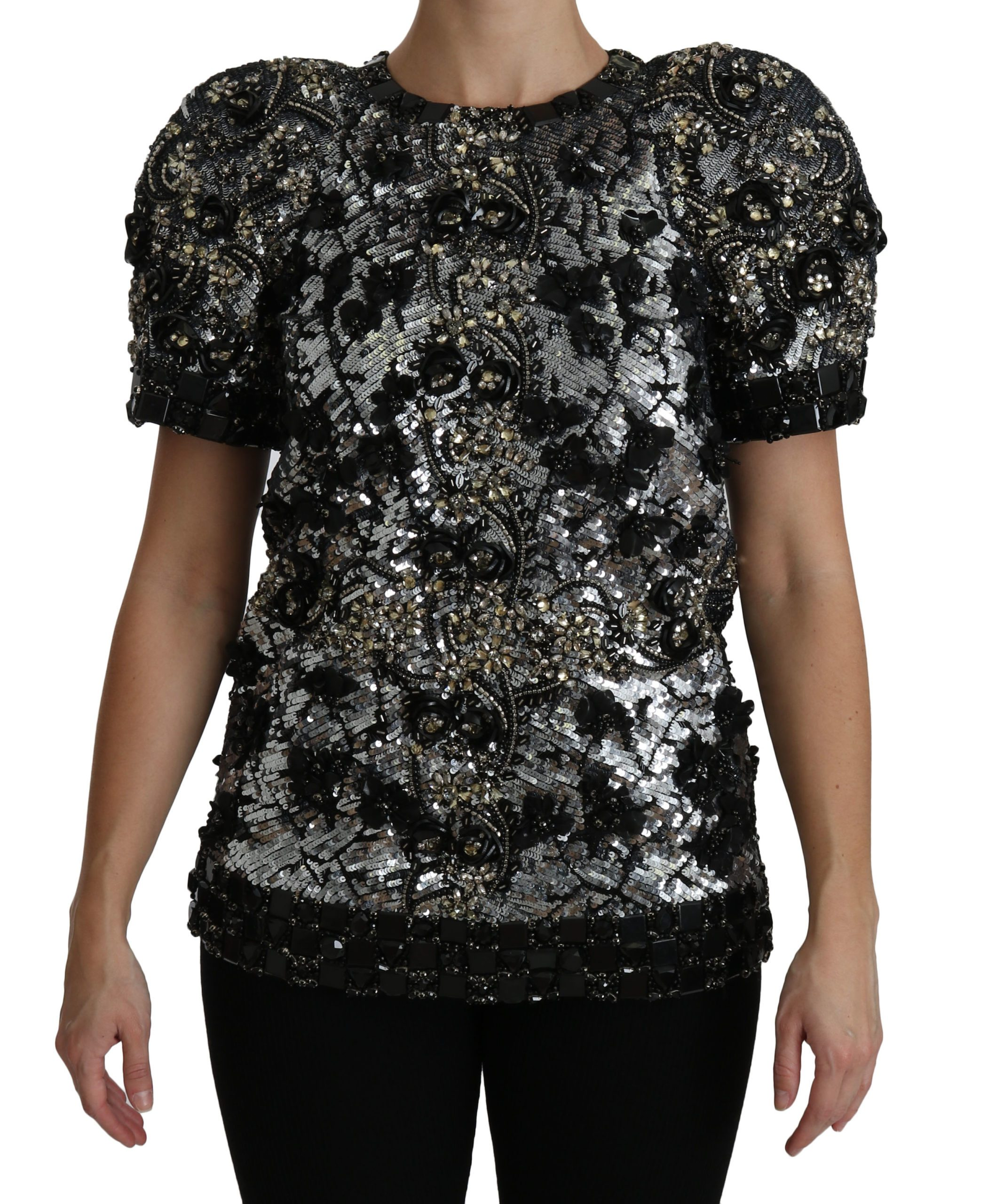Black Sequined Crystal Embellished Top Blouse - IT38 XS