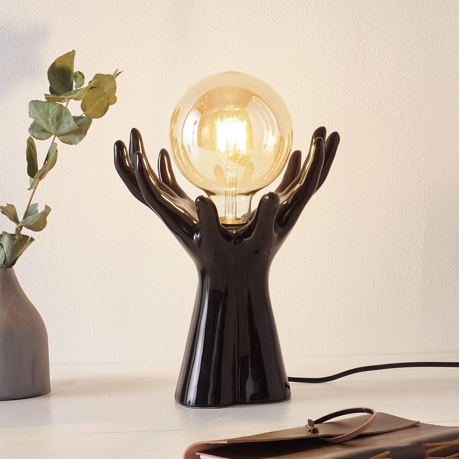 Keramisk bordlampe L183 NR, svart, blank