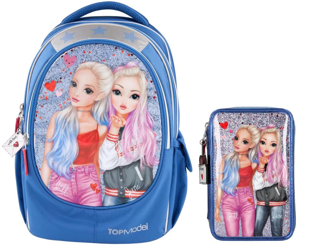 Top Model - School Backpack + Filled Triple Pencil Case - Love Letters