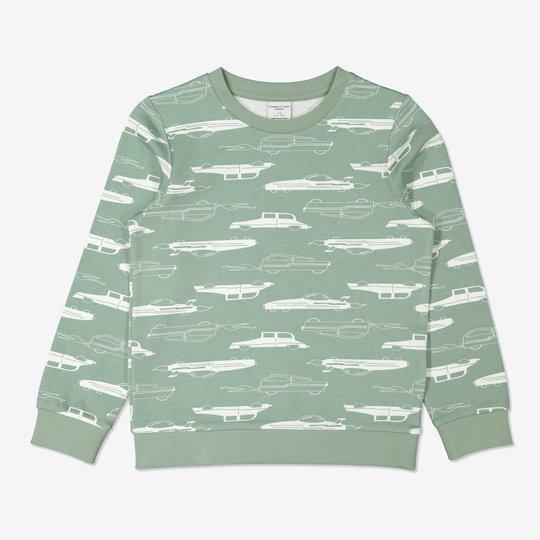 Sweatshirt med biltrykk grønn