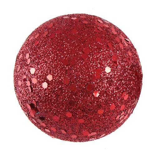 Dekorationsbollar Röd/Glitter - 10-pack