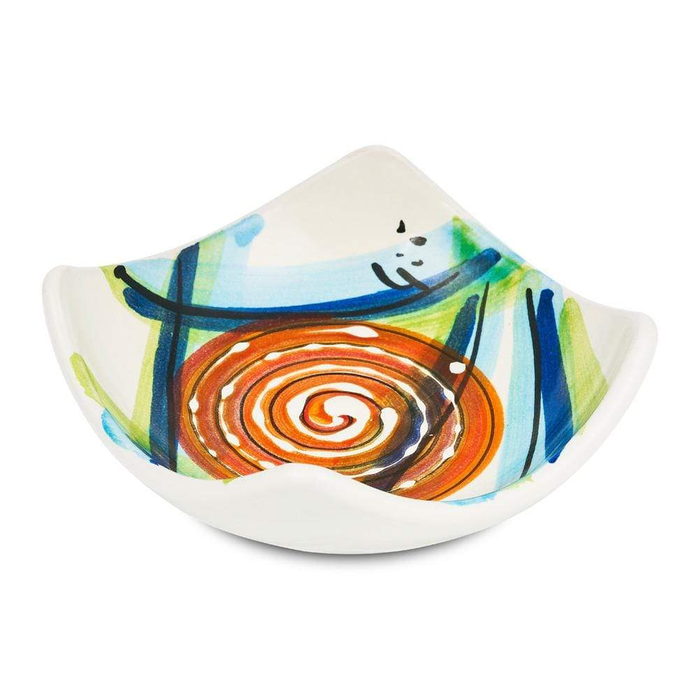 Small Square Dish 10cm by Sol'Art with Large Orange Spiral