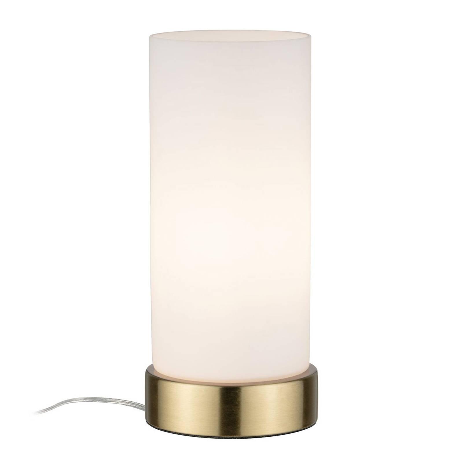 Paulmann-pöytälamppu Pinja, messinki/opaali