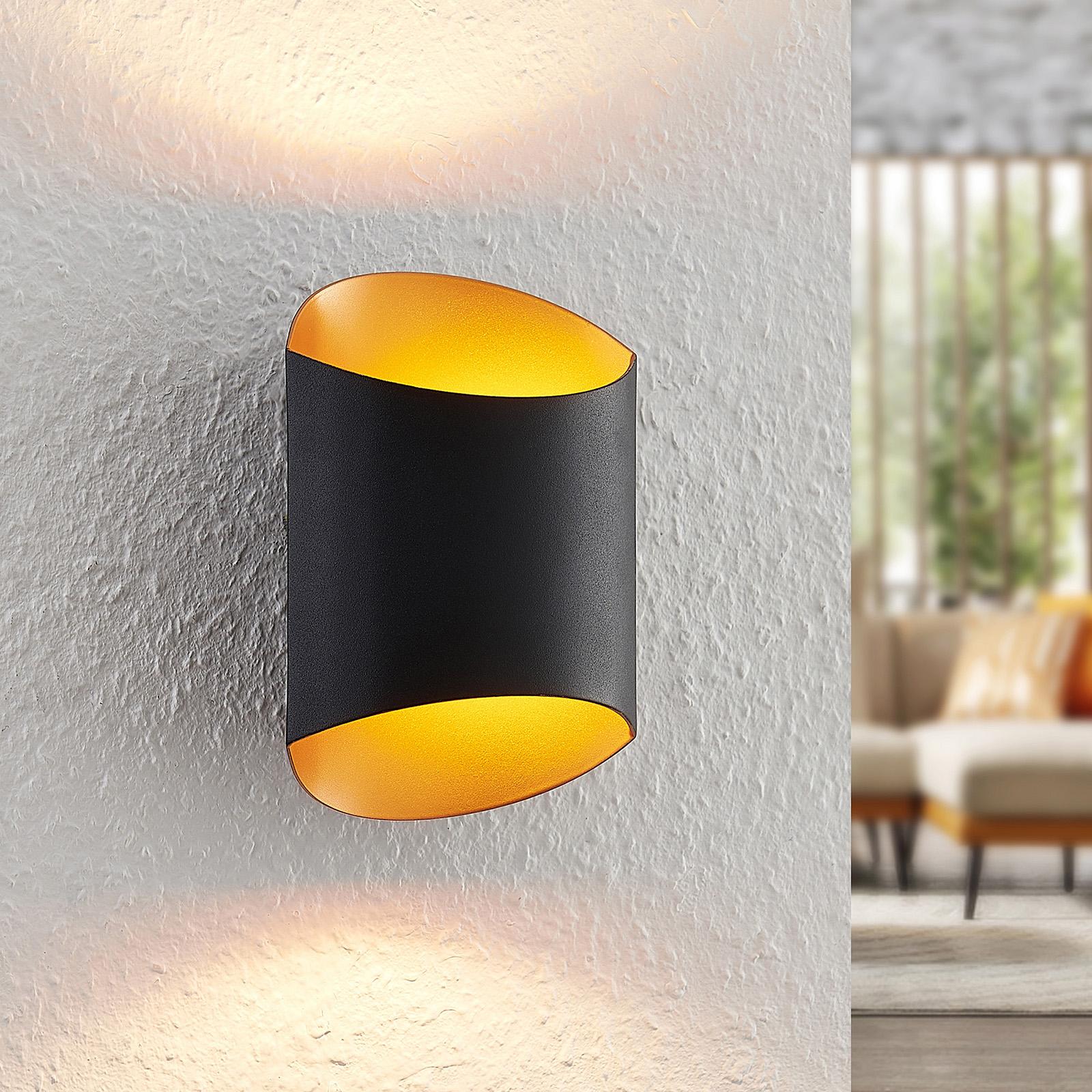 Arcchio Ayaz -LED-seinävalaisin, musta-kulta