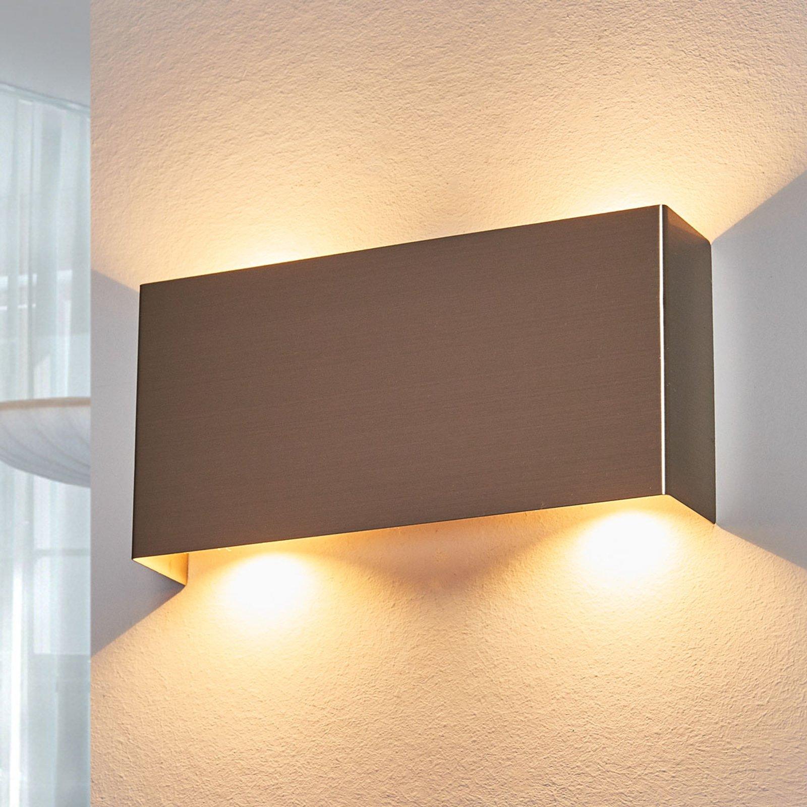 LED-vegglampe Manon, satinert nikkel, 22 cm