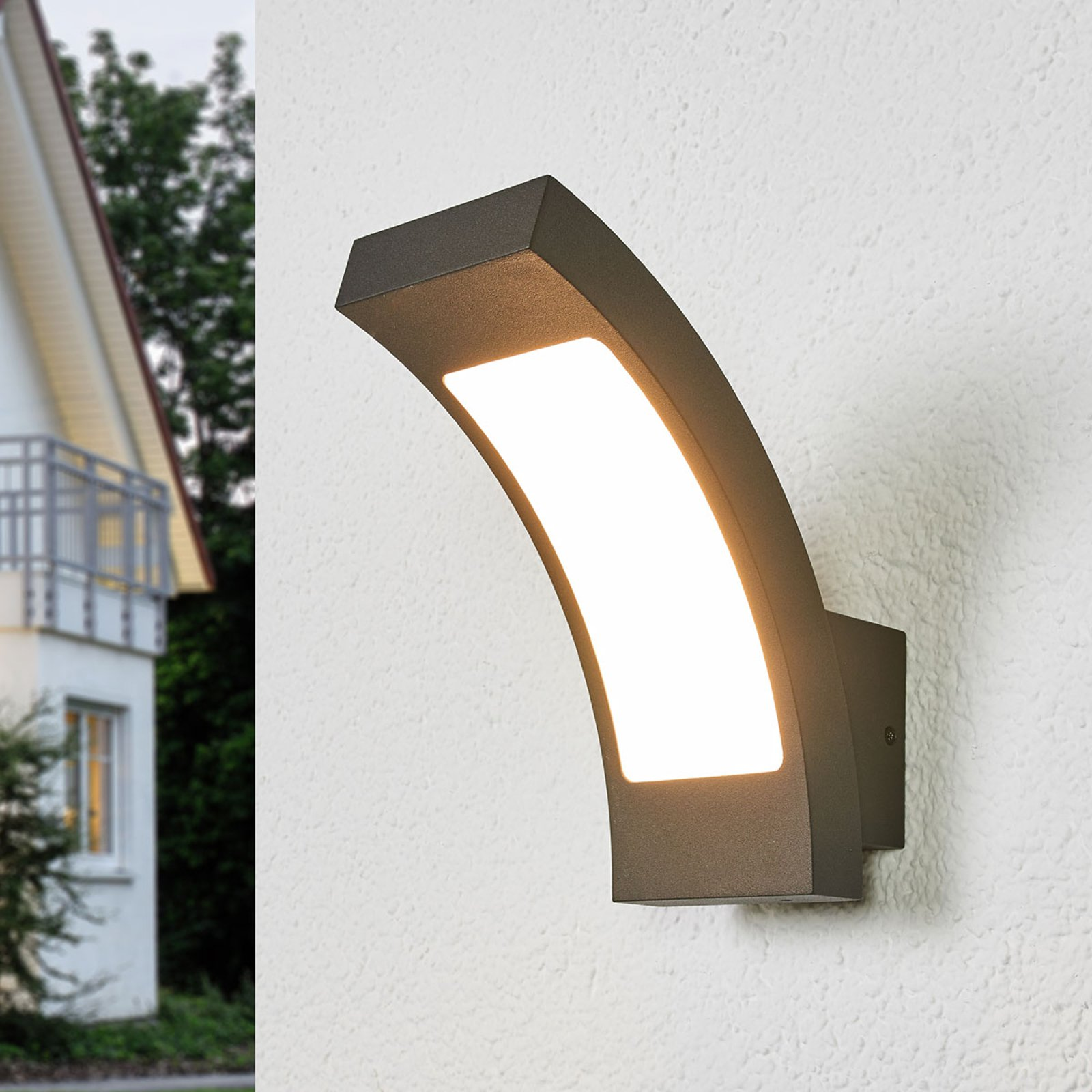 Grafittgrå LED-utevegglampe Juvia - IP54