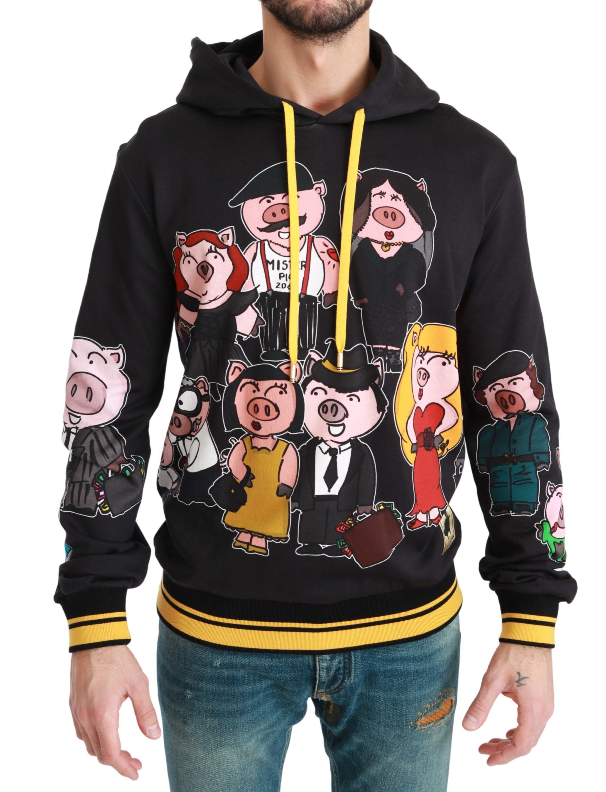 Dolce & Gabbana Men's Pig of the Year Hooded Sweater Black bgTSH4612 - IT50 | L