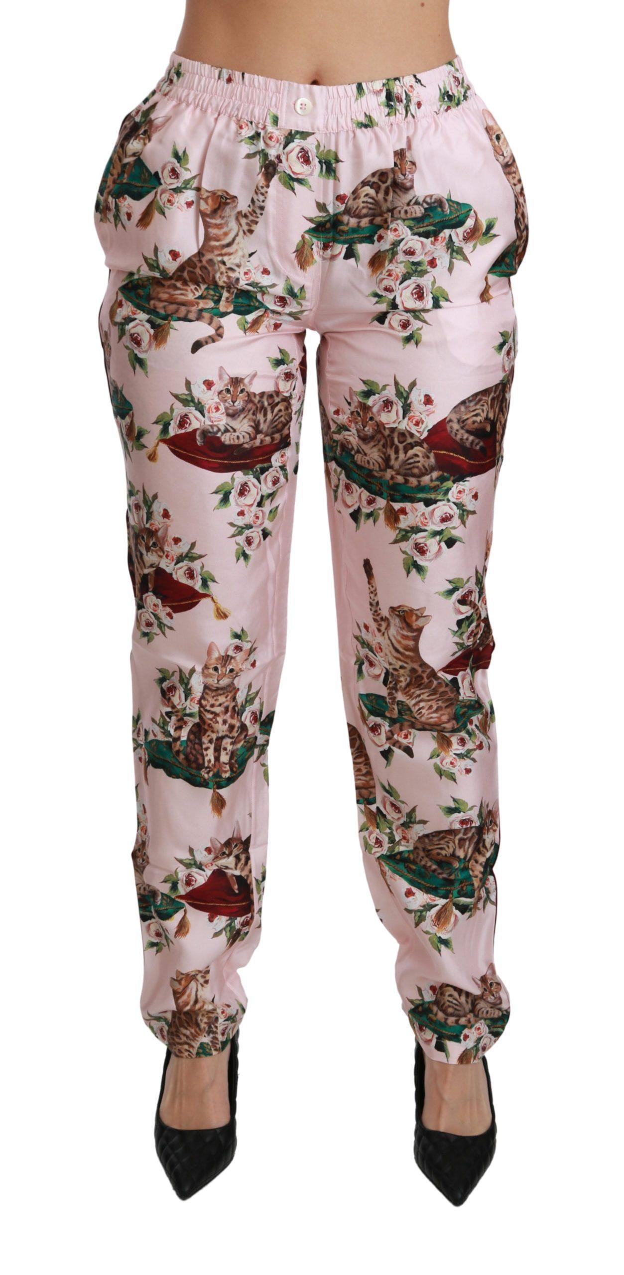 Dolce & Gabbana Women's Bengal Cat Trousers Silk Trouser Pink PAN70900 - IT40|S
