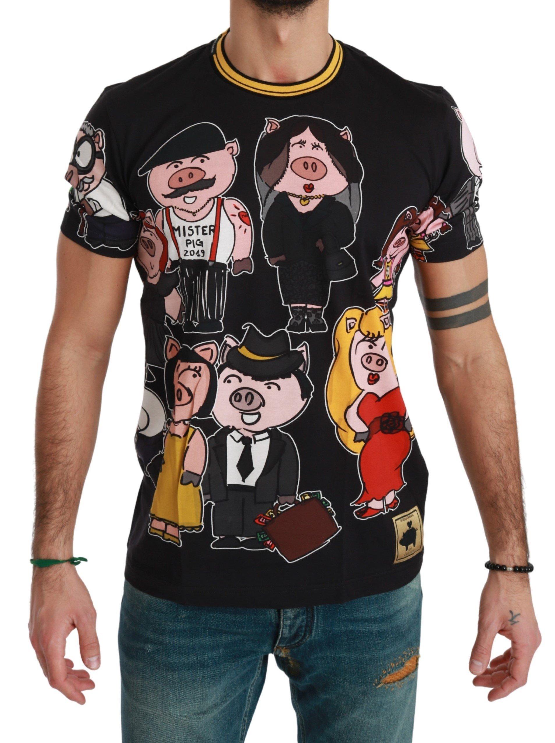Dolce & Gabbana Men's Cotton T-Shirts Black TSH4560 - IT44 | XS