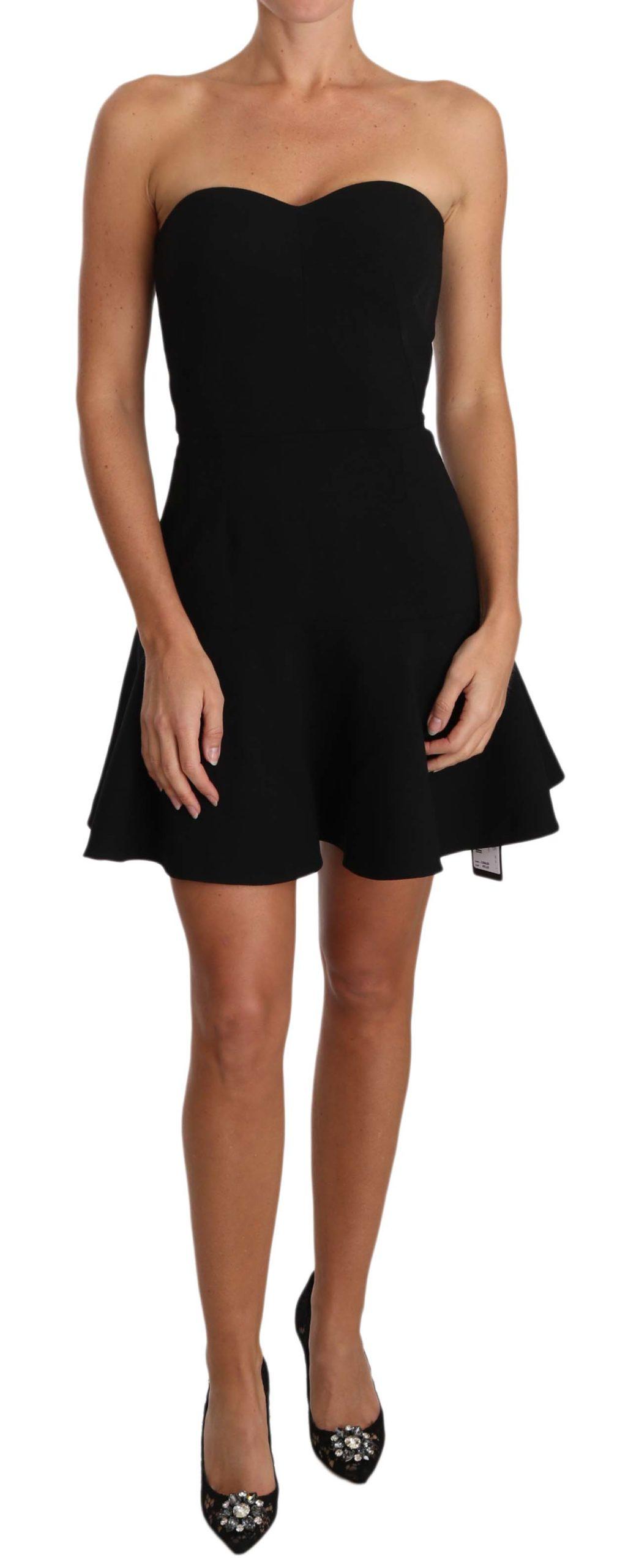 Dolce & Gabbana Women's Wool Stretch A-Line Cocktail Dress Black DR2028 - IT38 XS