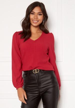 Happy Holly Emilia ls sleeve puff top Dark red 36/38