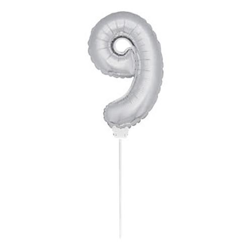 Folieballong på Pinne Silver - Siffra 9