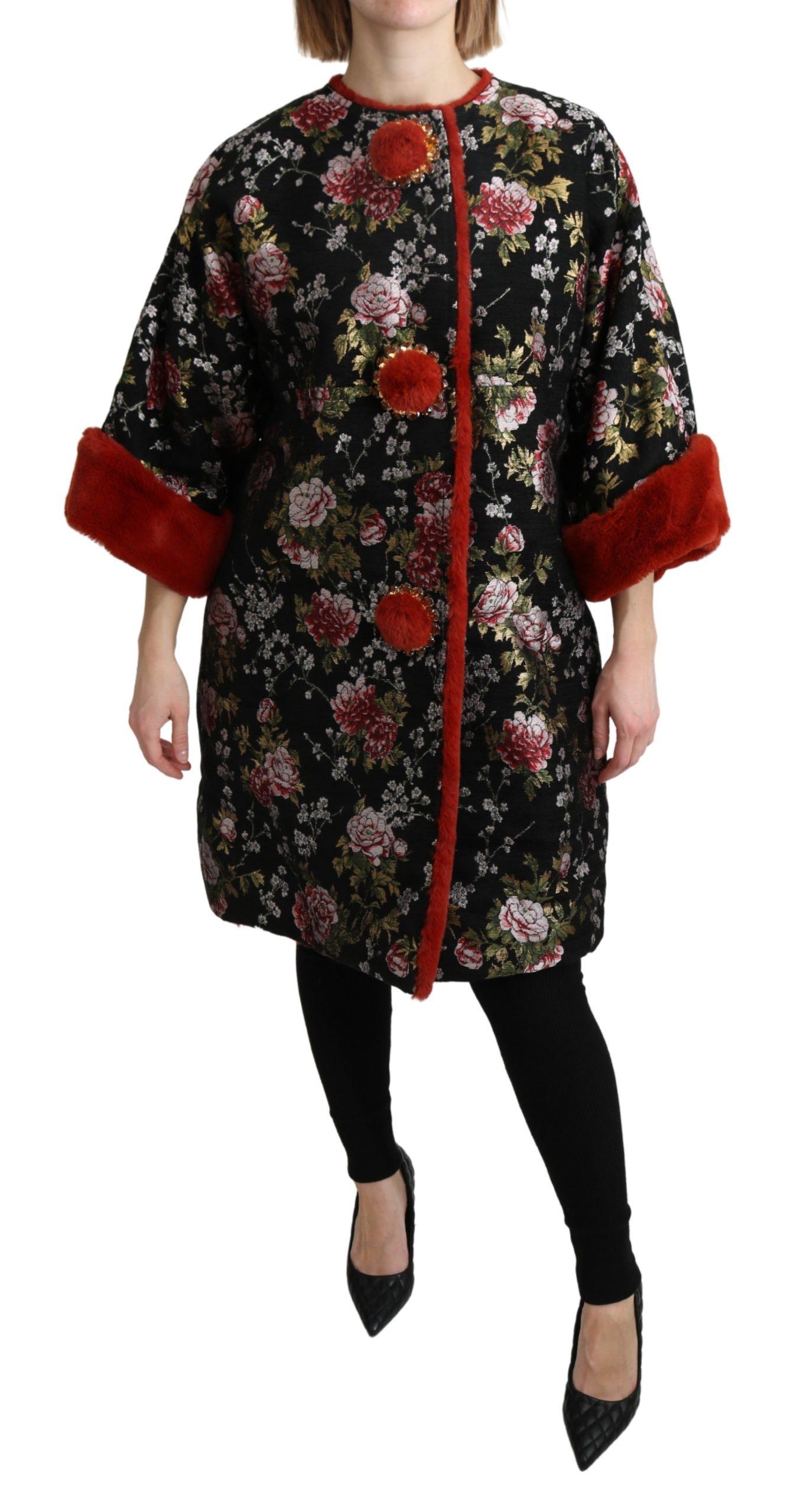 Dolce & Gabbana Women's Floral Fur Crustal Jacket Multicolor JKT2633 - IT38 | S