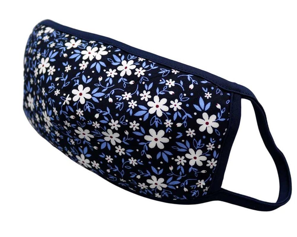 Bomull Ansiktsmask, Hvite blomster og blå blader, Blå, Floral