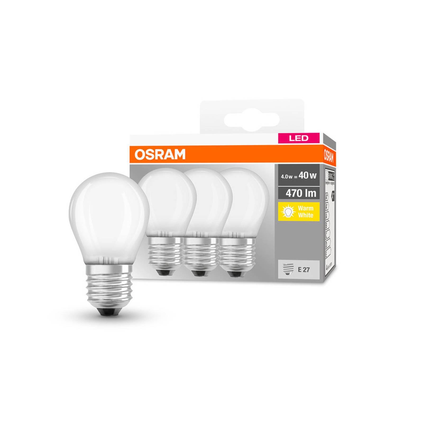 OSRAM-LED-pisara E27 P40 4W 2700K 470lm matta, 3