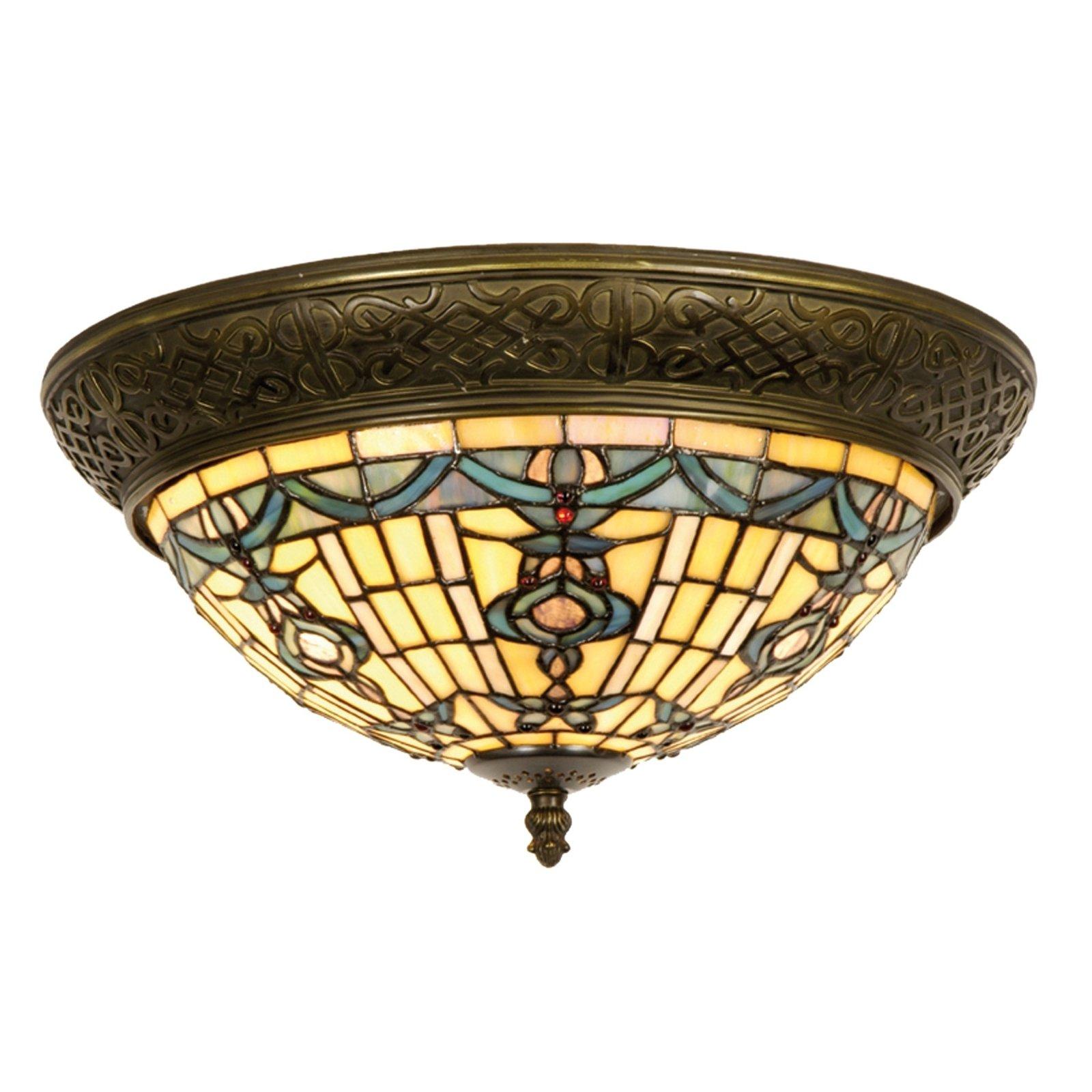 Rund taklampe Kimberly i Tiffany-stil, 38 cm