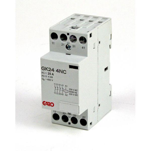 Garo GK24 4NC 230V ACDC Kontaktor 4-polet, 25 A 4 åpen